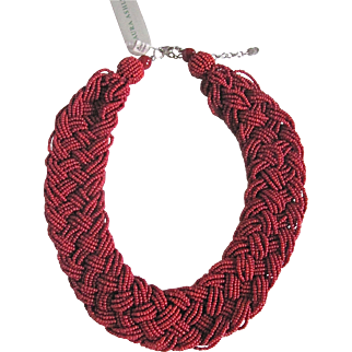 Vintage Laura Ashley Glass Red Seed bead Braided Necklace Certified Appraisal $1675