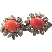 Vintage Omega Creamy Salmon Coral White Sapphire Pierced Earrings