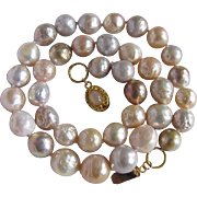 Little Creations 18kt GP Baroque Freshwater Cultured Pearl Necklace with Moonstone