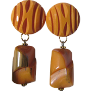 Art Deco Carved Butterscotch and End of Day Bakelite GP Omega Backs Earrings