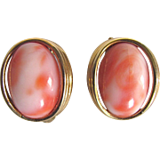 Mid CENTURY Angel Skin Natural Coral Cabochon Clip Earrings Certified Appraisal $610