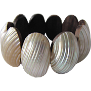 Vintage Osmina Shells Links with Teak backs Stretch Bracelet
