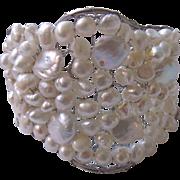 Vintage Handmade Wire Work Encrusted Freshwater Cultured Pearl Cuff Bracelet