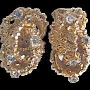 Vintage Brutalist Sculpted Design Rhinestone Clip Earrings