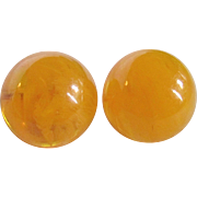 Vintage Bakelite Honey Yellow 24mm High Dome Omega Earrings