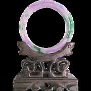 Vintage Hand Carved Quartz Natural and Enhanced Coloring Bangle Certified Appraisal $825