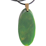 Art Deco Green Swirl Bakelite Oval Slice Pendant on Leather cord Necklace