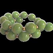 Art Deco Green Bakelite Bead Memory Wire Bracelet