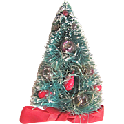"Vintage Artificial Frosted Christmas Tree 5 1/2"" Novelty with real Ornaments Stamped ""Japan"" BRooch"