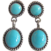 Vintage Natural Turquoise Cabochons in Silver frames Pierced Earrings
