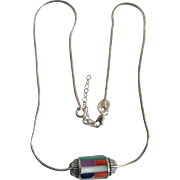 Vintage Turquoise/Coral/Lapis/MOP/Amethyst Inlaid Cabochons in Sterling Silver Cylinder Snake Chain Necklace