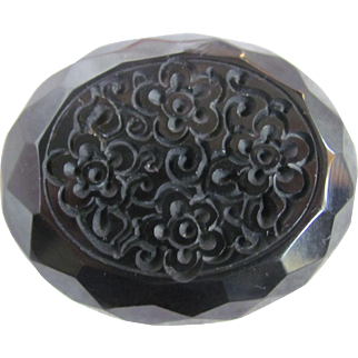 """Art Deco Carved Jet 2 1/2"""" Stylized Flowers Facetted Brooch"""