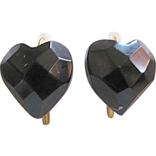 Victorian Whitby Jet Facetted Black Heart Dormeuse Pierced Earrings Mourning Jewelry