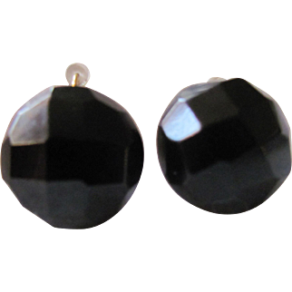 Victorian Whitby Jet Facetted Black Dome Dormeuse Pierced Earrings Mourning Jewelry