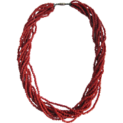Vintage Natural Red Salmon Branch Seed Coral Torsade Necklace