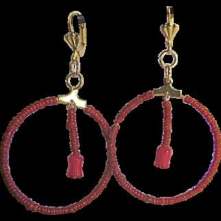 Little Creations Natural Seed Coral GP Hoop Leverback Pierced Earrings