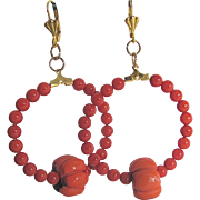 Little Creations Salmon Coral and Coral Pumpkin Focal Bead with GP Hoop /Leverback Earrings