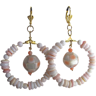 Little Creations Angel Skin Conch and MOP Focal Bead with GP Hoop /Leverback Earrings