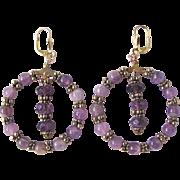 Little Creations Amethyst Gem Beads GP Hoop Leverback Pierced Earrings