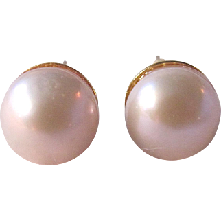 Vintage GP Cultured Pearl 10mm Post Pierced Earrings