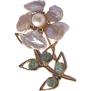 Vintage Swoboda Signed Keishi Freshwater Pearl and Jade Brooch