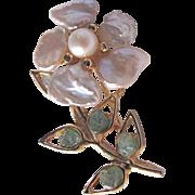 Vintage Swoboda Signed Keishi Freshwater Pearl and Jade Brooch