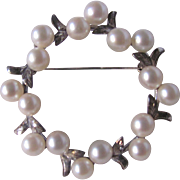 Mid Century Japanese Cultured Pearl AAA Quality on Sterling Silver Frame Double Pearl Wreath Brooch