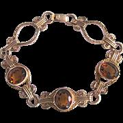 """Vintage Citrine Gemstone 10k/1/20GF Signed """"Amco"""" Empire Style Link Bracelet Certified Appraisal $580"""