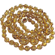 "Vintage 18kt GP Natural Amber Greenish Yellow with Flecks Graduated beads 35"" / 66 grams/ Necklace Certified Appraisal $1285"