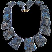 Vintage 18kt GP Graduated Sodalite Matrix Plaquettes Necklace Certified Appraisal Value $2585
