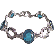 Art Deco Sterling Silver London Blue Topaz/White Sapphires  Bracelet Certified Appraisal $825