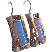 Vintage 14kt / Vermeil Contra Luz Very Fine Opal Pierced Corbeil Earrings Certified Appraisal $1275