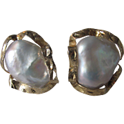 Vintage Vermeil Brutalist Style Blister Natural Pearls Omega Pierced Backed Earrings Certified Appraisal $1450