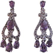 Vintage Genuine Amethyst Sterling Silver Chandelier Style Pierced Earrings