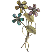 Vintage 12kt GF Samsan Large Scale Flower Vine Paste Gems Green/PinkyPurple/Yellow Brooch Certified Appraisal $395