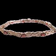 Vintage Genuine Almandine Garnet Vermeil Tennis Bracelet Double lock Clasp