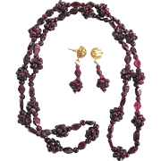 Vintage Genuine Garnet Matching Necklace and Pierced Earrings  Set