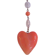 Vintage Lucite Puffy Heart Coral Color Patina Chain Necklace/Pendant