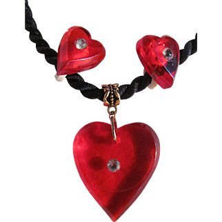 Vintage Transparent Red Lucite Heart with Inlaid Rhinestone & Matching Earrings Color Black Silk Cord Pendant