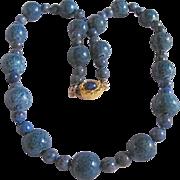 Vintage 18kt GP 12 mm Denim Blue Dyed Sponge Coral with Lapis Necklace Certified Appraisal $955