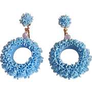 Vintage Celluloid Light Blue Frilly Cake Decoration Style Pierced Earrings