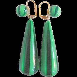 Mid Century Pop Art Lucite Ribbon Candy Green Striped Bold Leverback Pierced Earrings