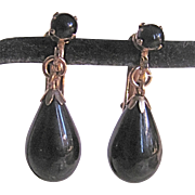Victorian Revival Style Onyx Drop Onyx Cabochon Late Mourning Jewelry Fine Clip Earrings