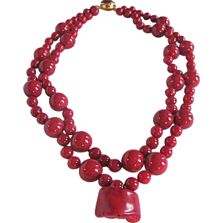 Little Creations Oxblood Double Strand Dyed Trunk Coral and Micro Quartz Necklace Certified Appraisal $1390