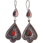 Vintage Red Coral Inlay Coin Silver Pierced Drop Earrings
