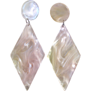 Vintage Lucite Mother of Pearl Giant Circle and Diamond Shaped Pierced Earrings
