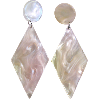 Vintage Lucite Mother of Pearl Giant Pierced Earrings