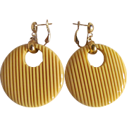 Art Deco Bakelite Butter Yellow Groved Large Round Omega Pierced Earrings