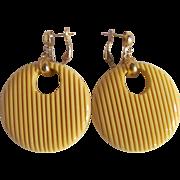 Art Deco Bakelite Butter Yellow Groved Large Round Omega Pierced Earrings