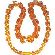 Vintage Amber Reformed Cut/ Polished into Graduated Geometric Beads Necklace Certified Appraisal $2100